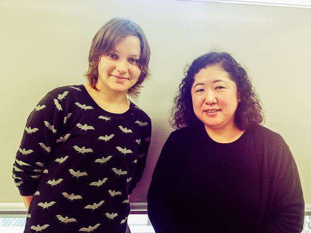 Аня, студентка школы Саму и Имаи-сенсей, преподаватель